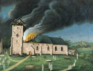 British (English Naive) School; Speldhurst Church, Tunbridge Wells, Kent, Struck by Lightning; Tunbridge Wells Museum and Art Gallery; http://www.artuk.org/artworks/speldhurst-church-tunbridge-wells-kent-struck-by-lightning-77294